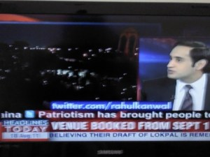Twitter stream on India TV Channel